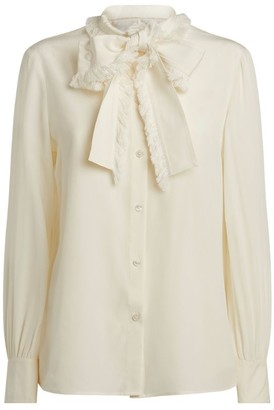 Tory Burch Fringed Pussybow Silk Blouse