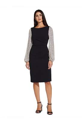 Adrianna Papell Sequin Sleeve Crepe Dress