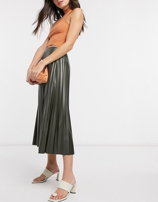 ASOS DESIGN leather look pleated midi skirt in khaki-No Color