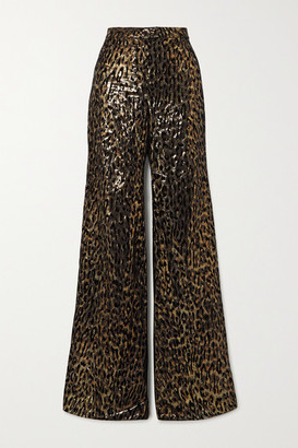 Redemption Metallic Flocked Silk-blend Wide-leg Pants - Black