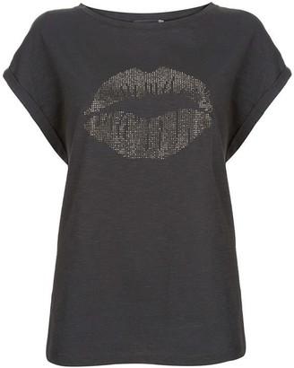 Mint Velvet Charcoal Studded Lips T-Shirt