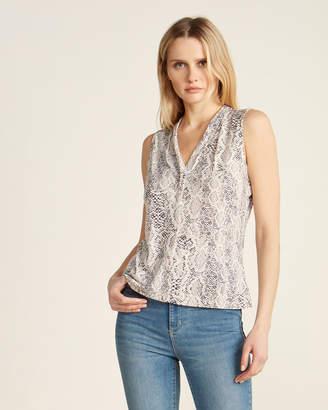 Calvin Klein Snakeskin-Patterned V-Neck Sleeveless Top