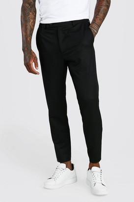 boohoo Mens Black Skinny Cropped Casual Trouser, Black