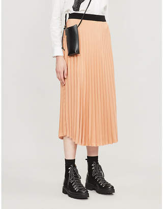 Moncler High-rise pleated woven midi skirt