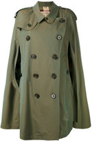 Burberry gabardine cape with check detail
