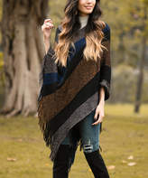 Z Avenue Women's Ponchos Black - Black & Gold Stripe Fringe-Accent Poncho - Women