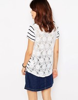 Brave Soul Stripe Lace Back T-shirt