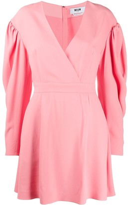 MSGM Puff Pleated Sleeves Mini Dress