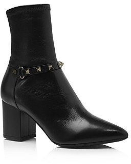 Valentino Women's Rockstud Stretch Leather Booties