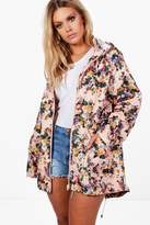 boohoo Plus Felicity Floral Print Hooded Mac pink