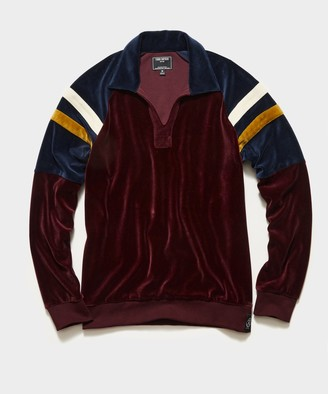 Todd Snyder Velour Rugby Polo in Bordeaux