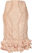 Alexander McQueen Embellished crinkled-organza and copper thread skirt