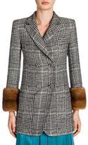 Fendi Mink Cuff Double-Breasted Wool & Silk Jacket