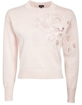 Topshop Rose Cutout Knitted Sweatshirt