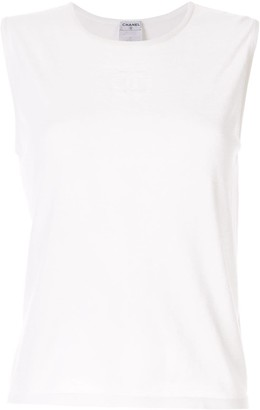 Chanel Pre Owned knitted CC logo tank top