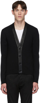 Saint Laurent Black Cashmere Leather Cardigan