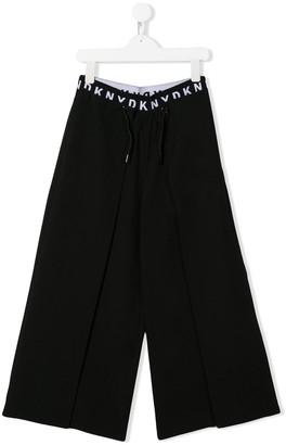 DKNY TEEN logo band wide-leg trousers
