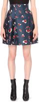 Mo&Co. Heart and lightning bolt-print satin mini skirt