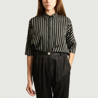 Dévastée Devastee - Black Cotton Striped Short Sleeve Shirt - cotton | black | 38 - Black/Black