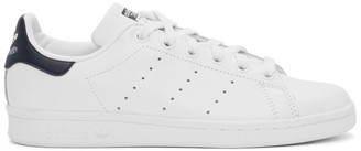 adidas White and Navy Stan Smith Sneakers