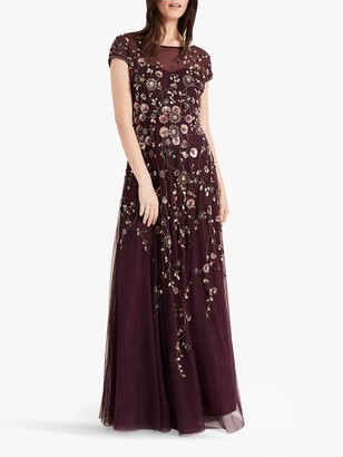 Phase Eight Alanis Floral Beaded Maxi Dress, Port