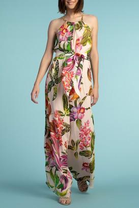 Trina Turk Jungle Silk Floral Printed Halter Jumpsuit