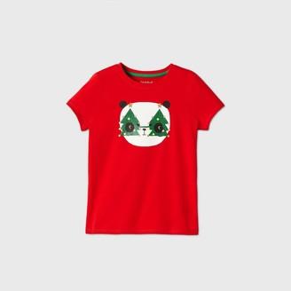 Cat & Jack Girls' Short Sleeve Christmas Panda Graphic T-Shirt - Cat & JackTM