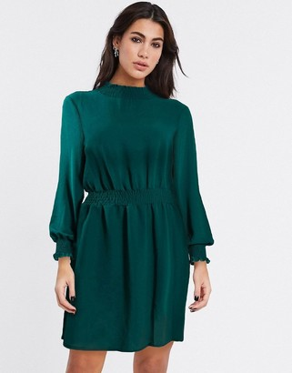 New Look shirred neck dress in green