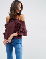 Asos Cold Shoulder Top in Satin with Ruffle Sleeve
