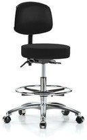 Height Adjustable Doctor Stool with Foot Ring Perch Chairs & Stools Color: Black Fabric