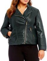 Calvin Klein Plus Faux Leather Moto Jacket