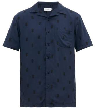 Onia Vacation Pineapple-intarsia Short-sleeved Shirt - Mens - Navy