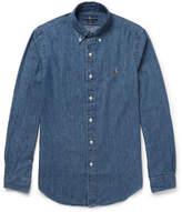 Polo Ralph Lauren Slim-fit Button-down Collar Washed-denim Shirt - Mid denim