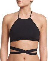 L-Space L Space Lizzie Free Spirit Wrap-Around Solid Swim Top, Black