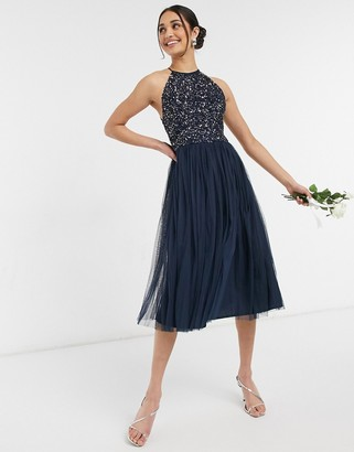 Maya Bridesmaid halter neck midi tulle dress with tonal delicate sequin in navy