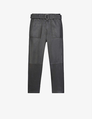 The Kooples Contrast-panel leather trousers