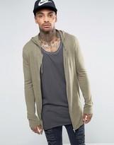Asos Longline Knitted Zip Up Hoodie in Green