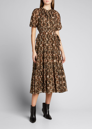 Ulla Johnson Tunis Tiered Chiffon Midi Dress