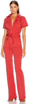 Frame Le Bardot Jumpsuit in Cherry | FWRD