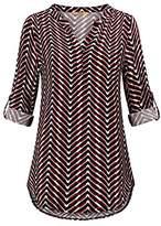 MCKOL Women's Casual Chiffon V Neck 3/4 Roll-Up Sleeve Geometric Shirt Blouses