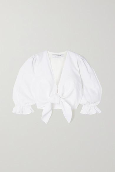 Faithfull The Brand Net Sustain Jacinta Cropped Tie-front Linen Top