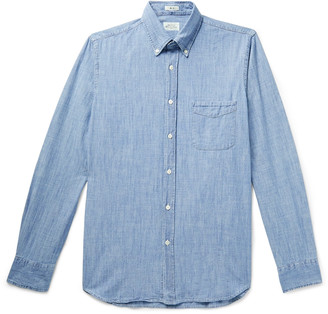 Hartford Button-Down Collar Cotton-Chambray Shirt