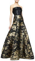 Oscar de la Renta Strapless Embellished-Bodice Metallic Gown, Gold/Black