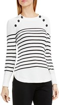 Vince Camuto Button Shoulder Stripe Sweater
