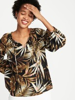 Old Navy Botanical-Print Gauze Tie-Neck Blouse for Women