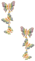 Noir Triple Butterfly CZ Drop Earrings