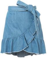 Paige ruffled wrap denim skirt
