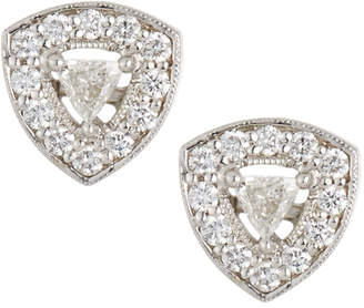 Penny Preville 18k White Gold Trillion Diamond Stud Earrings