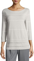 Lafayette 148 New York Boat-Neck Striped 3/4-Sleeve Sweater, Gray/White