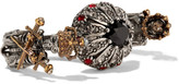 Alexander McQueen Silver And Gold-plated, Swarovski Crystal And Faux Pearl Two-finger Ring